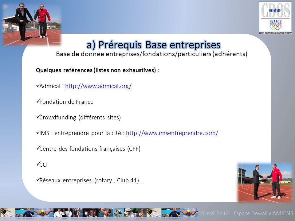 a) Prérequis Base entreprises