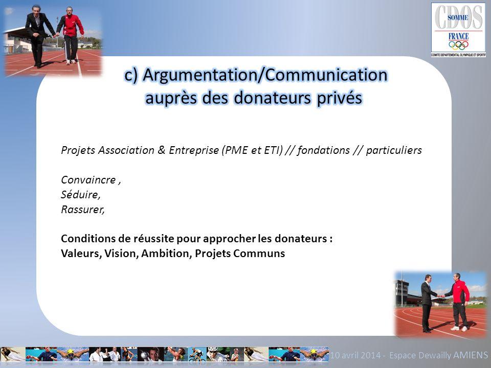 c) Argumentation/Communication auprès des donateurs privés