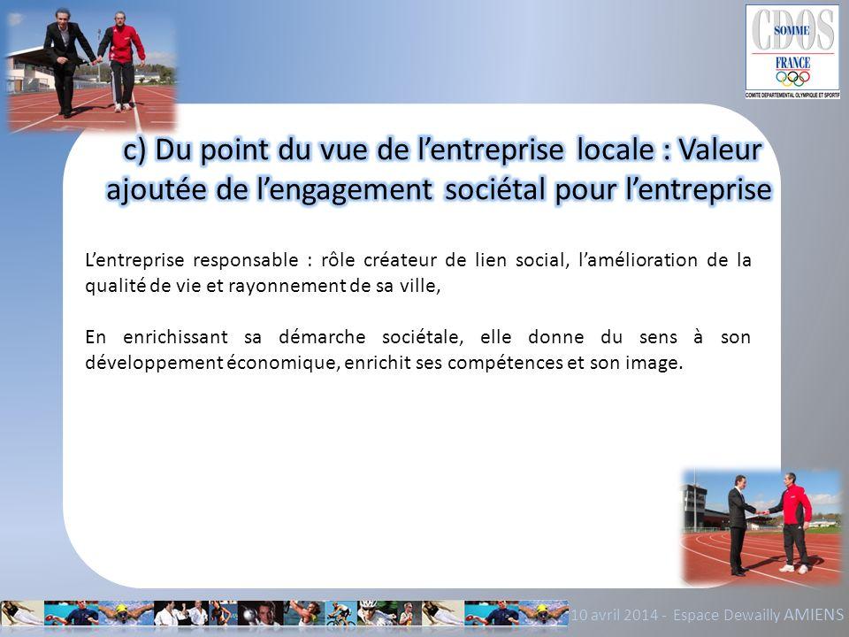 c) Du point du vue de l'entreprise locale : Valeur ajoutée de l'engagement sociétal pour l'entreprise