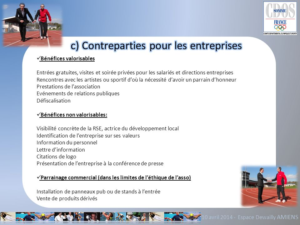 c) Contreparties pour les entreprises