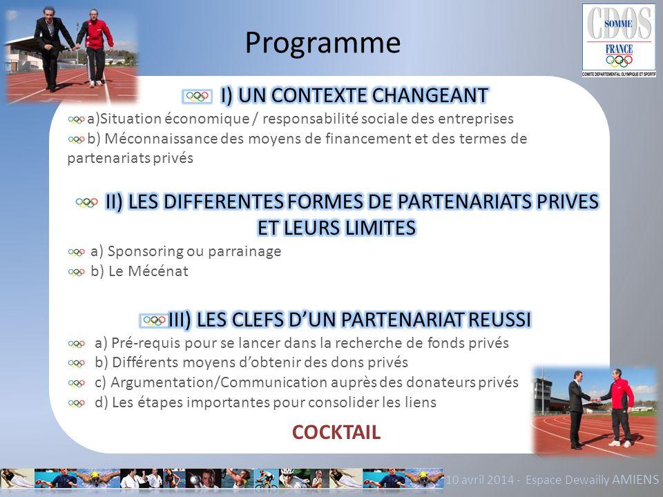 Programme I) UN CONTEXTE CHANGEANT