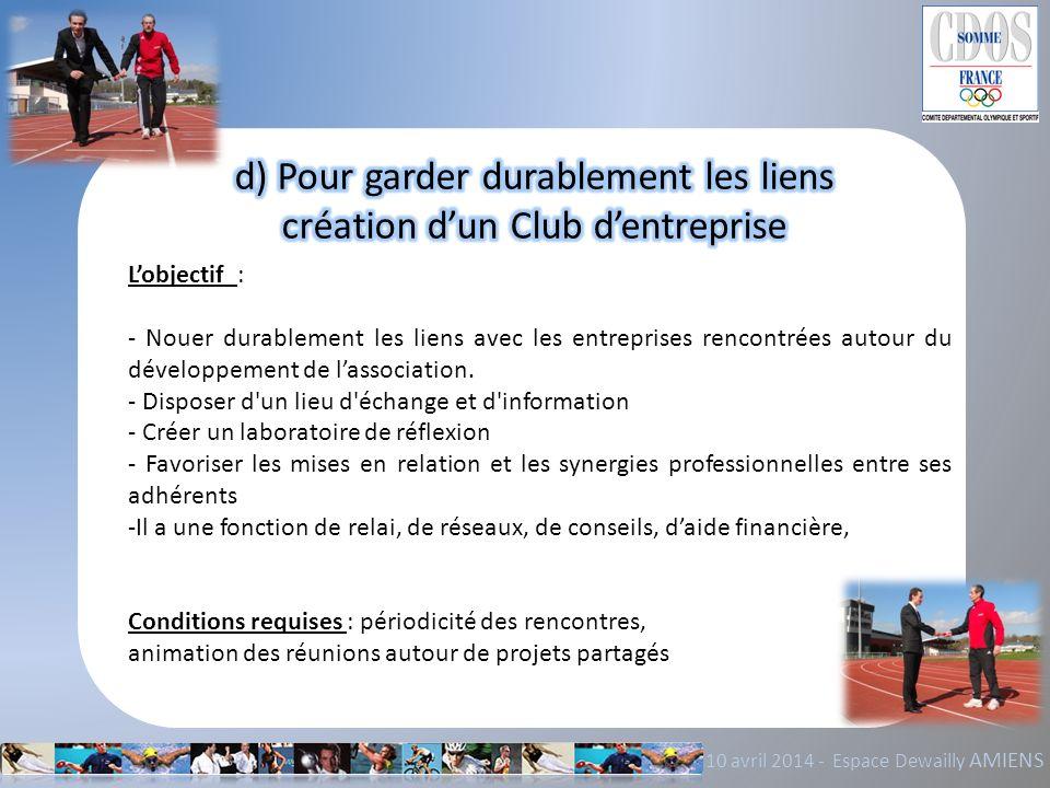 d) Pour garder durablement les liens création d'un Club d'entreprise