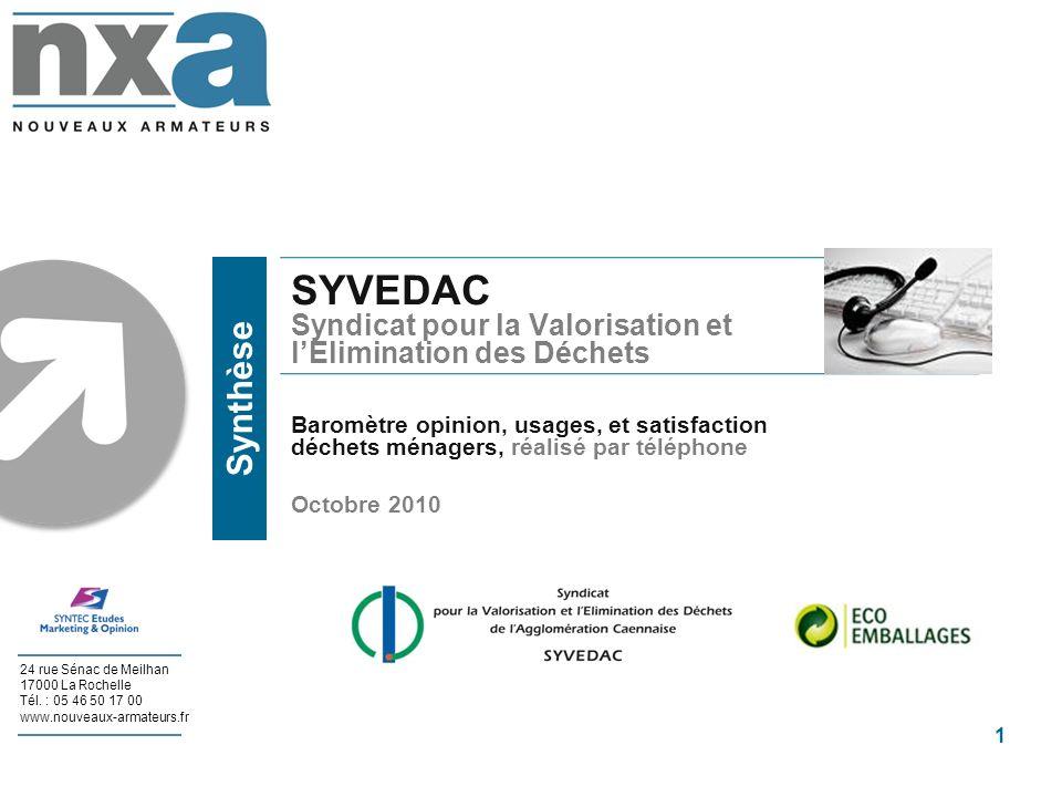 SYVEDAC Syndicat pour la Valorisation et l'Elimination des Déchets Baromètre opinion, usages, et satisfaction déchets ménagers, réalisé par téléphone Octobre 2010