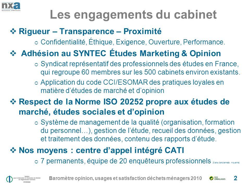 Les engagements du cabinet
