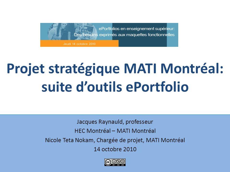 Projet stratégique MATI Montréal: suite d'outils ePortfolio