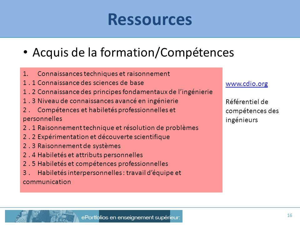 Ressources Acquis de la formation/Compétences