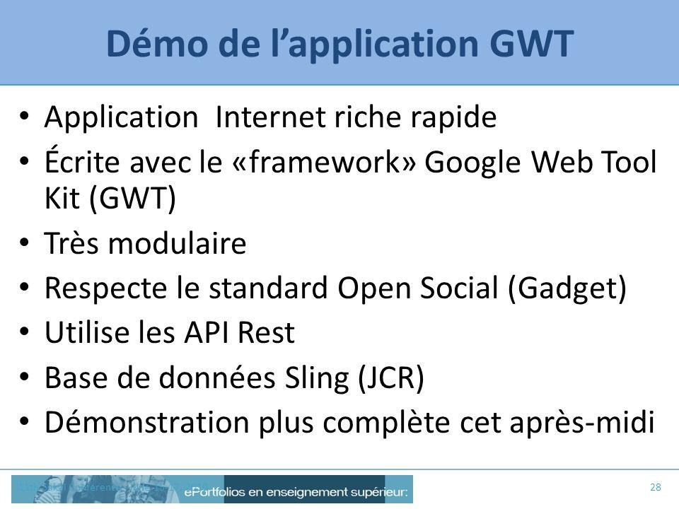 Démo de l'application GWT