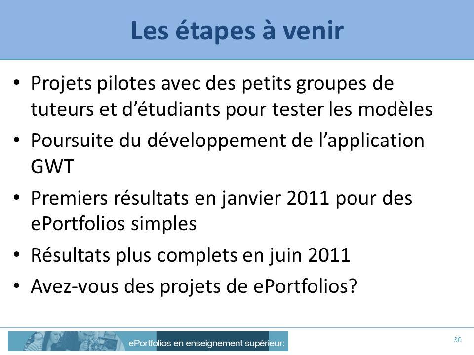 Les étapes à venir Projets pilotes avec des petits groupes de tuteurs et d'étudiants pour tester les modèles.