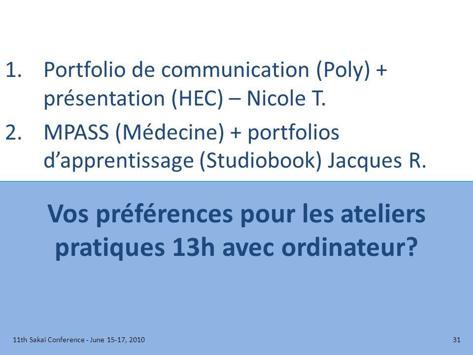 Vos préférences pour les ateliers pratiques 13h avec ordinateur