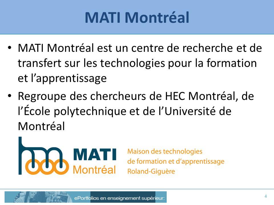 MATI Montréal MATI Montréal est un centre de recherche et de transfert sur les technologies pour la formation et l'apprentissage.