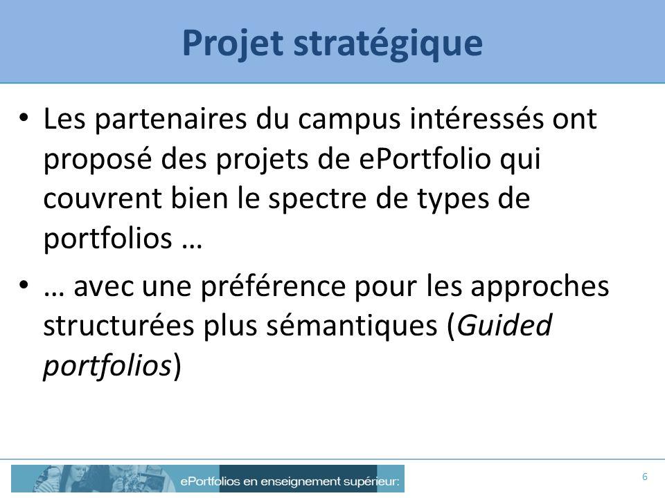 Projet stratégique Les partenaires du campus intéressés ont proposé des projets de ePortfolio qui couvrent bien le spectre de types de portfolios …