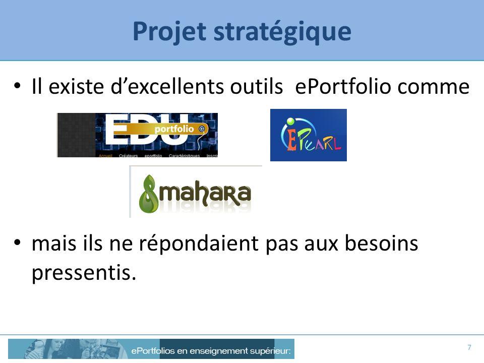 Projet stratégique Il existe d'excellents outils ePortfolio comme
