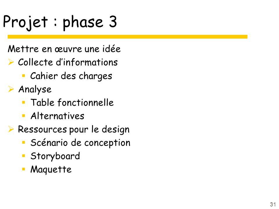 Projet : phase 3 Mettre en œuvre une idée Collecte d'informations