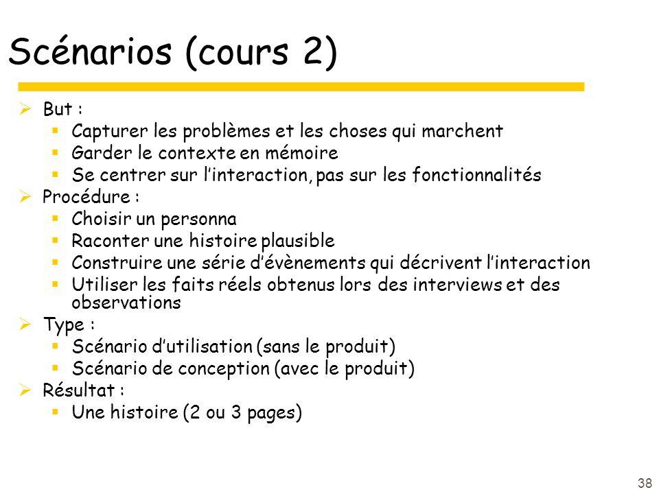Scénarios (cours 2) But :