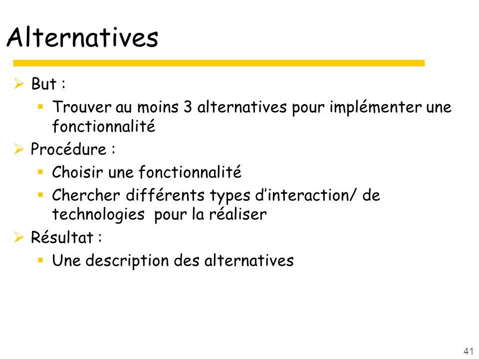 Alternatives But : Trouver au moins 3 alternatives pour implémenter une fonctionnalité. Procédure :