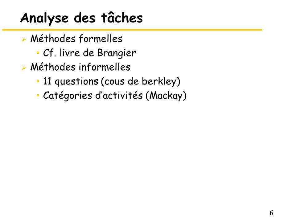 Analyse des tâches Méthodes formelles Cf. livre de Brangier