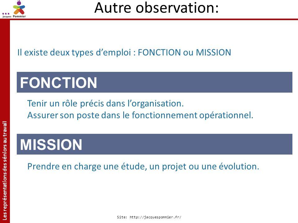 Autre observation: FONCTION MISSION