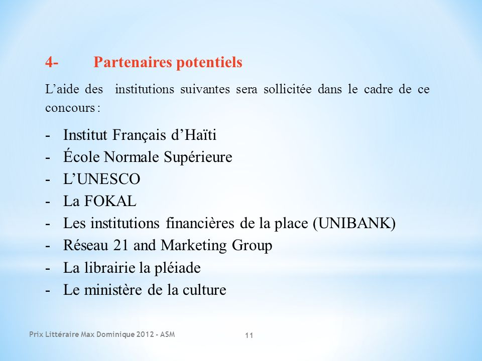4- Partenaires potentiels