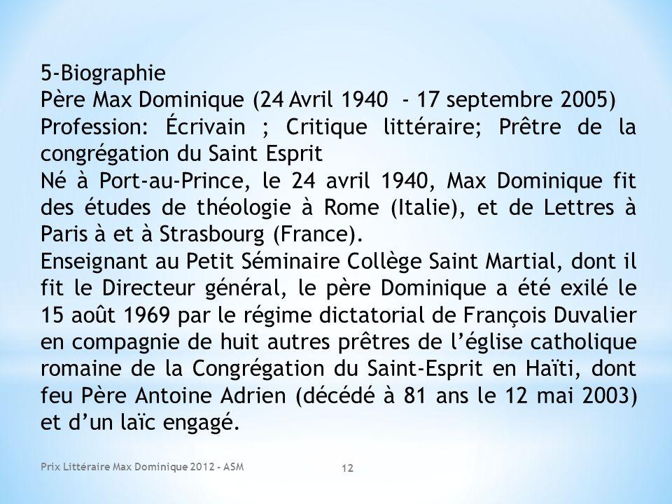 Père Max Dominique (24 Avril 1940 - 17 septembre 2005)