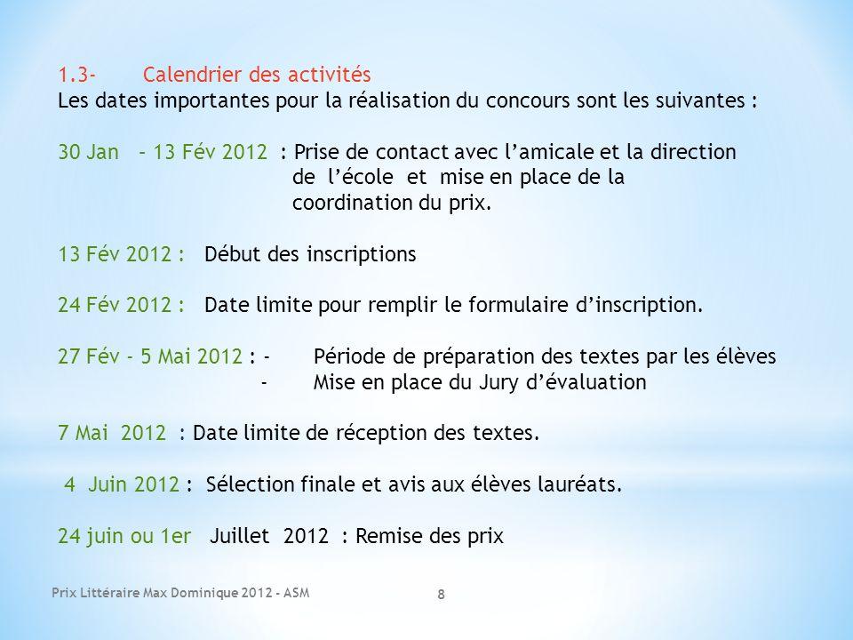 1.3- Calendrier des activités