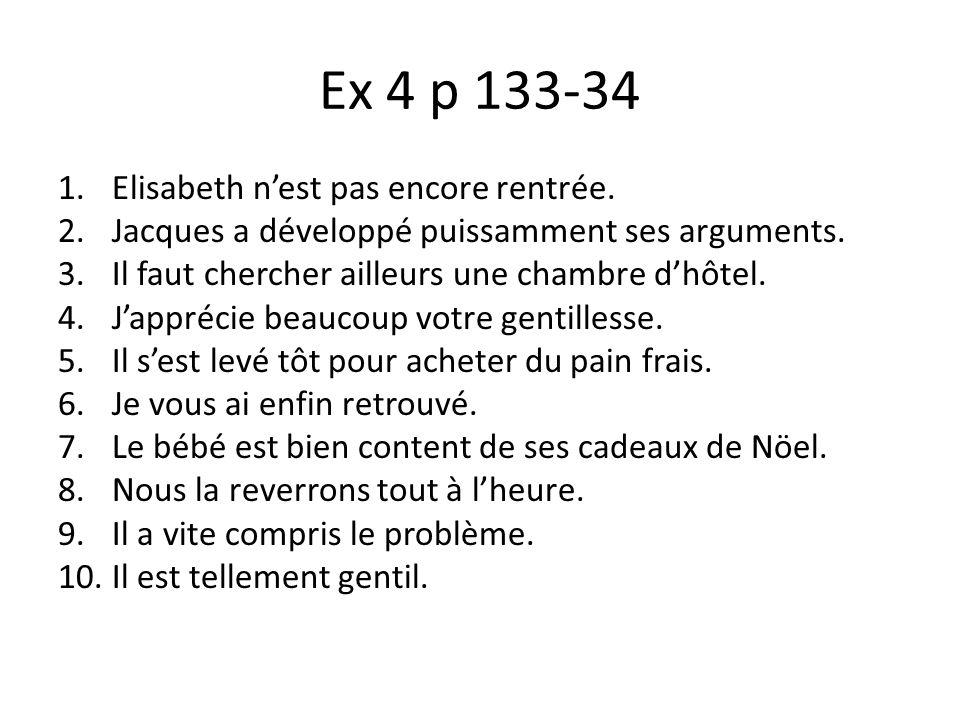 Ex 4 p 133-34 Elisabeth n'est pas encore rentrée.