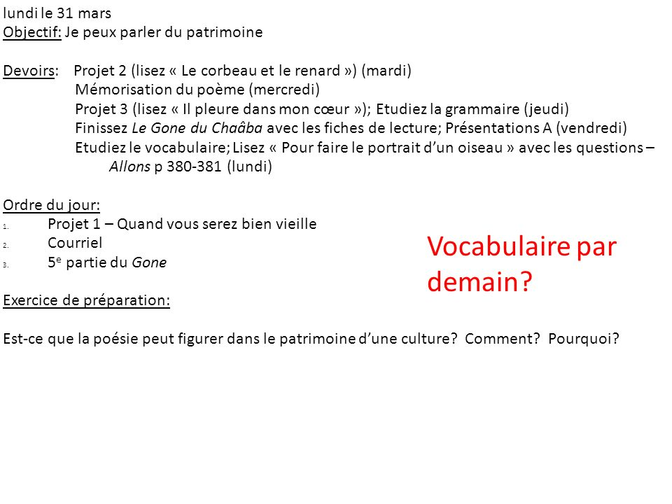 Vocabulaire par demain