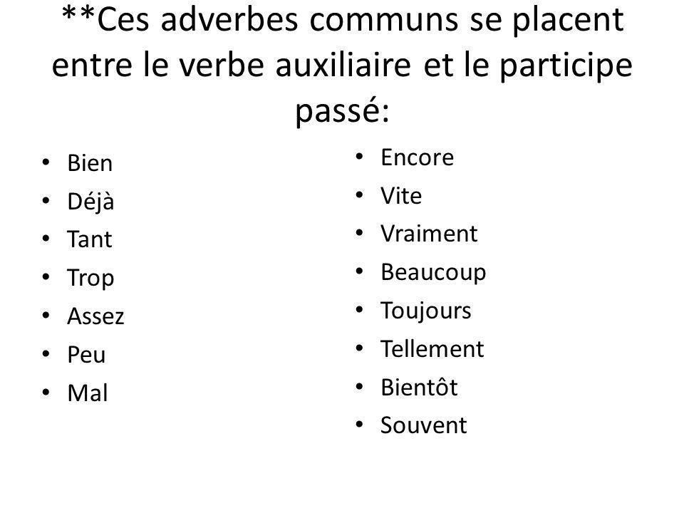 **Ces adverbes communs se placent entre le verbe auxiliaire et le participe passé: