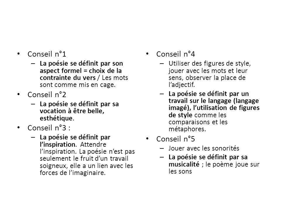 Conseil n°1 Conseil n°2 Conseil n°3 : Conseil n°4 Conseil n°5