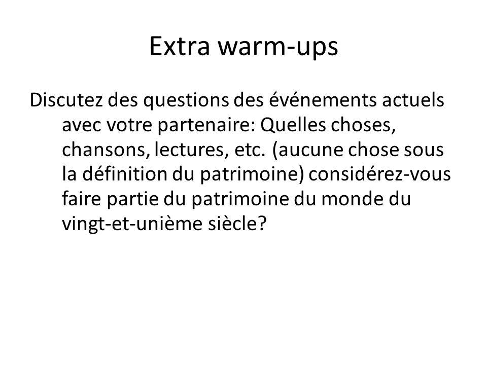 Extra warm-ups