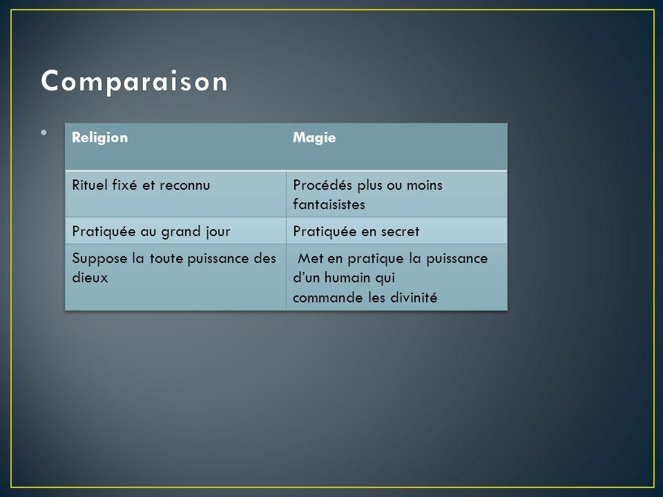 Comparaison Religion Magie Rituel fixé et reconnu