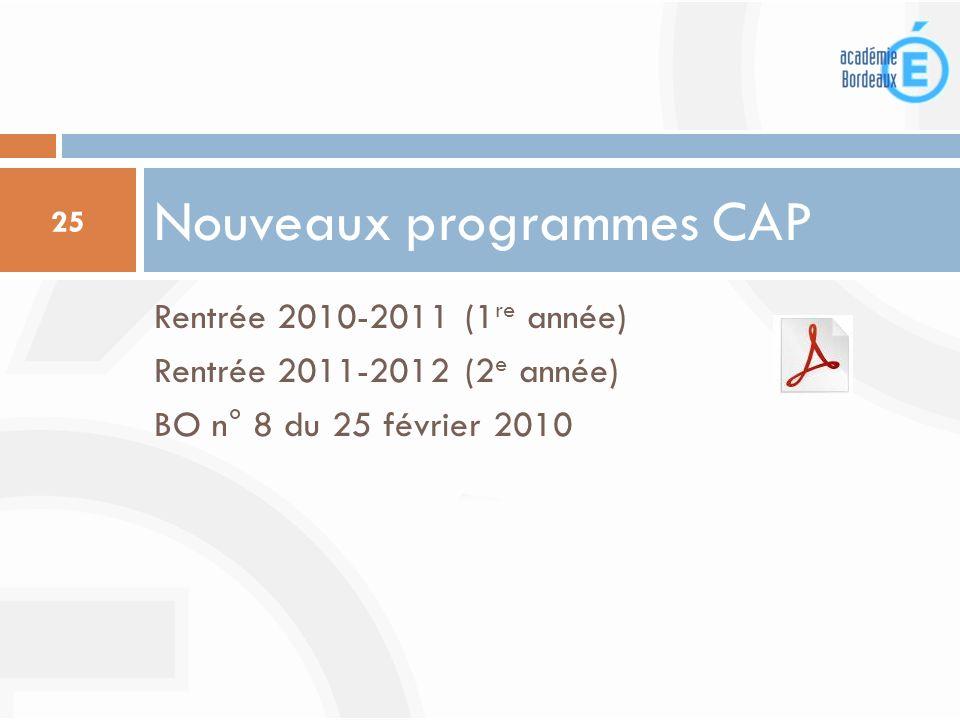 Nouveaux programmes CAP