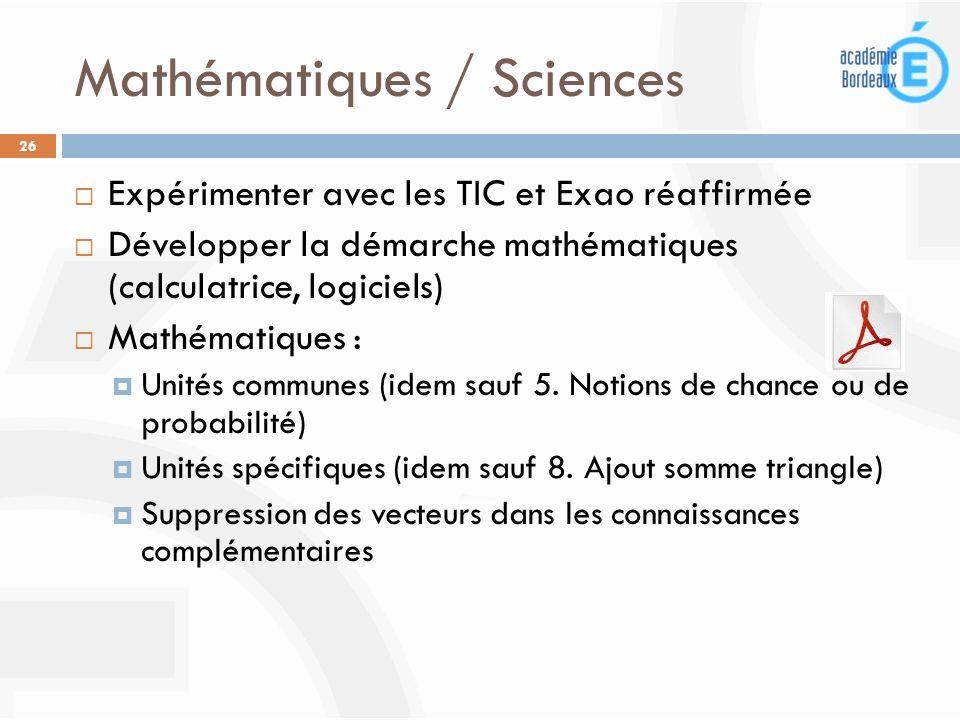 Mathématiques / Sciences