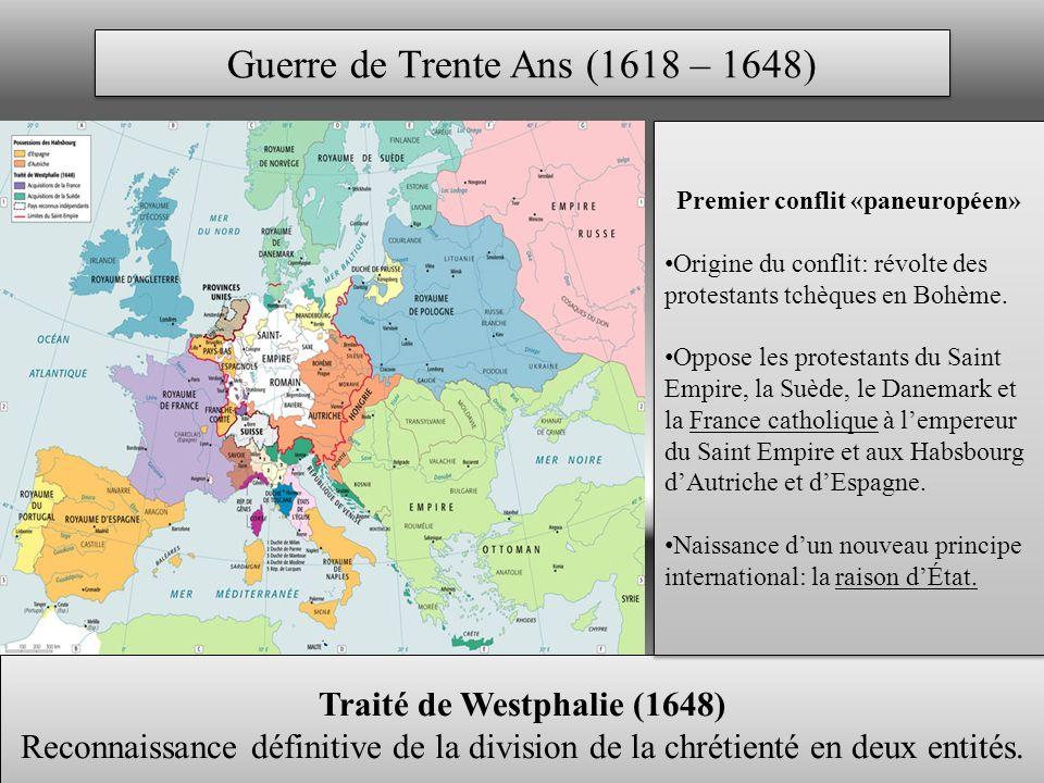 Premier conflit «paneuropéen» Traité de Westphalie (1648)