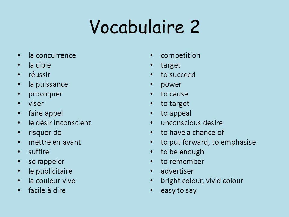 Vocabulaire 2 la concurrence la cible réussir la puissance provoquer