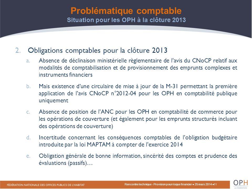 Problématique comptable Situation pour les OPH à la clôture 2013