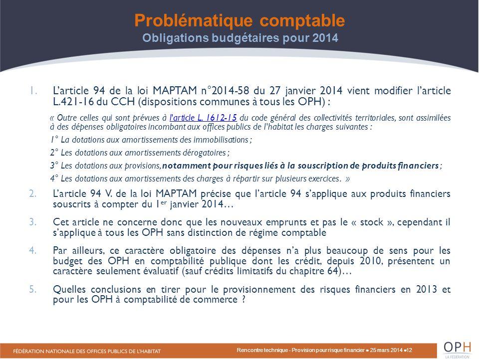 Problématique comptable Obligations budgétaires pour 2014