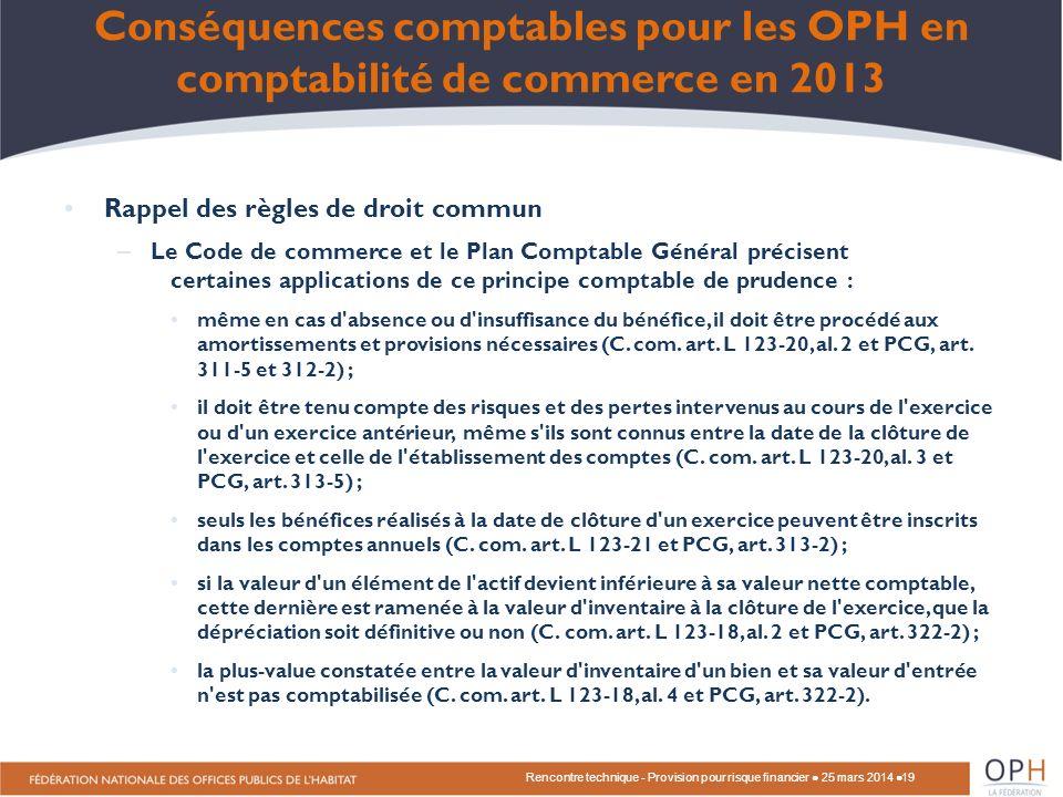 Rencontre technique - Provision pour risque financier ● 25 mars 2014 ●