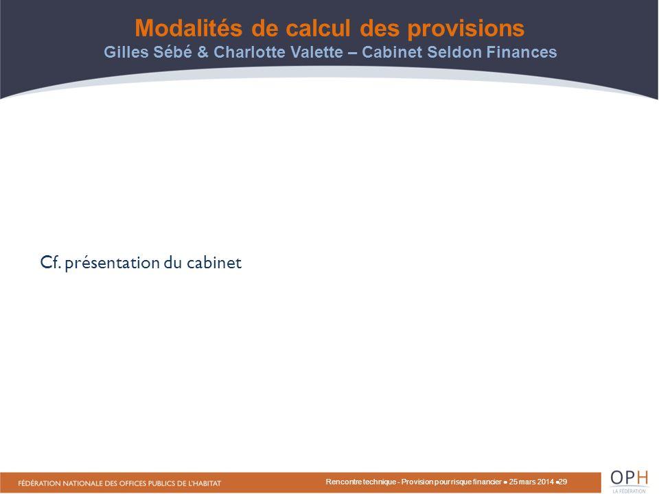 Modalités de calcul des provisions