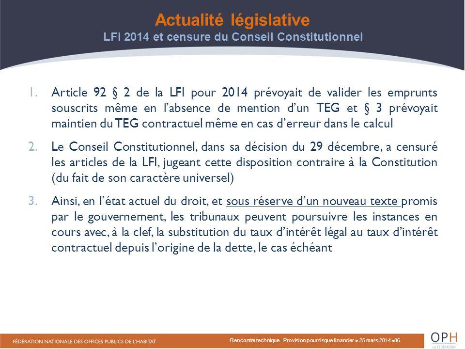 Actualité législative LFI 2014 et censure du Conseil Constitutionnel