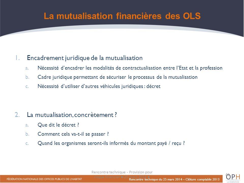 La mutualisation financières des OLS