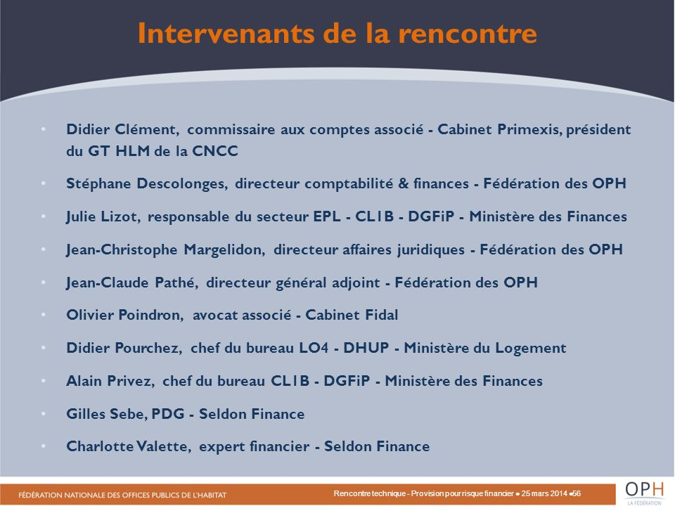 Intervenants de la rencontre