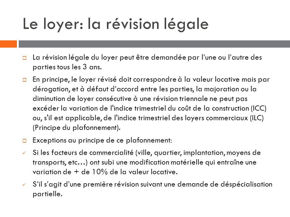 Le loyer: la révision légale