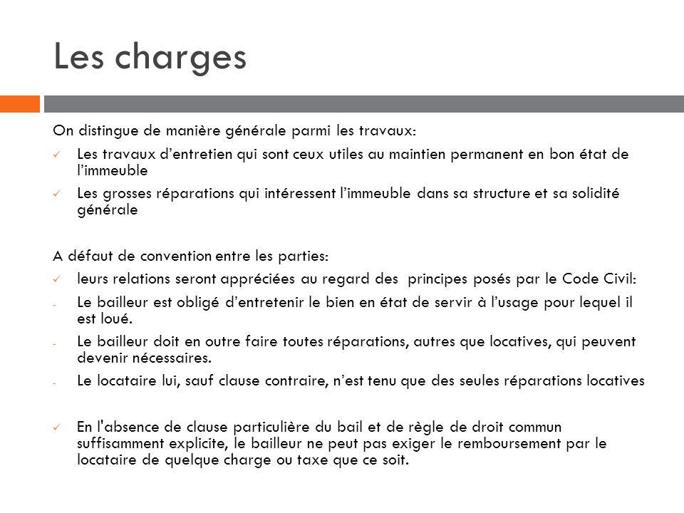 Les charges On distingue de manière générale parmi les travaux: