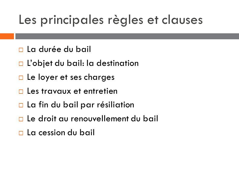 Les principales règles et clauses