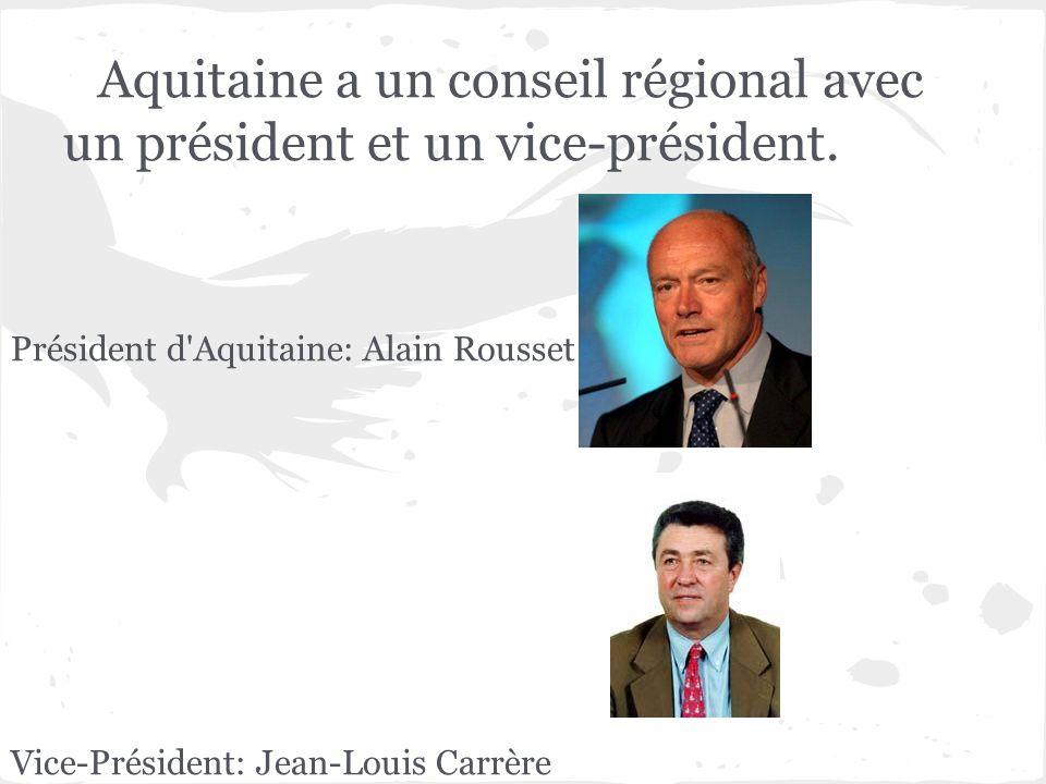 Aquitaine a un conseil régional avec un président et un vice-président.