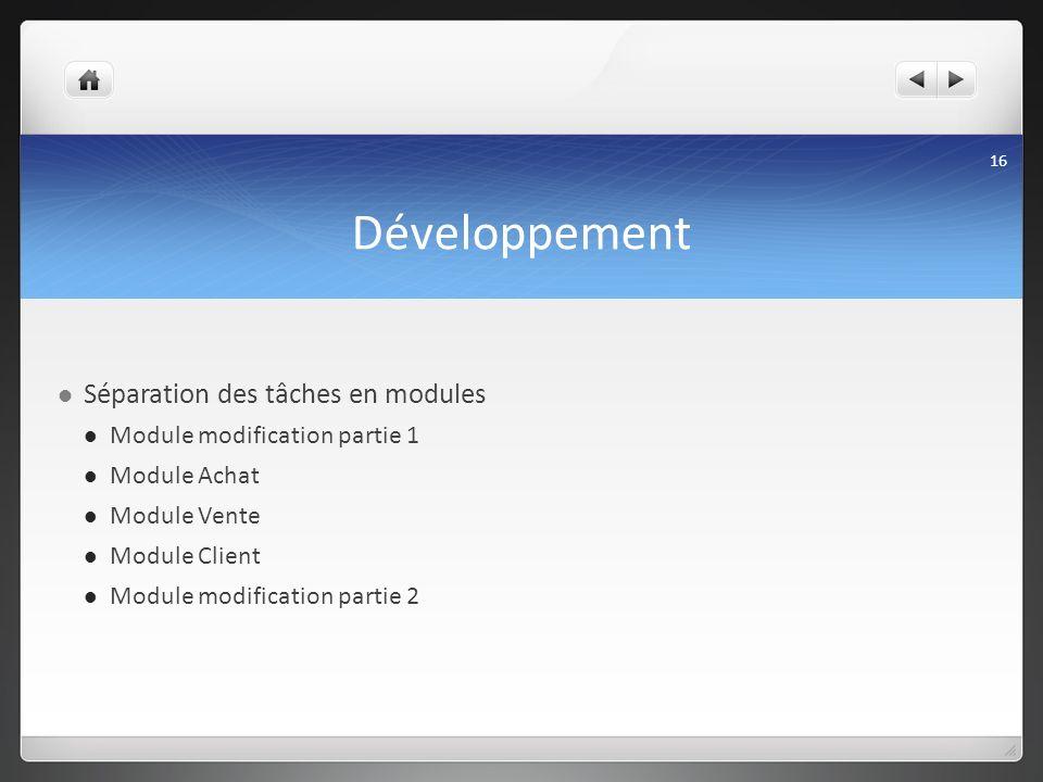 Développement Séparation des tâches en modules