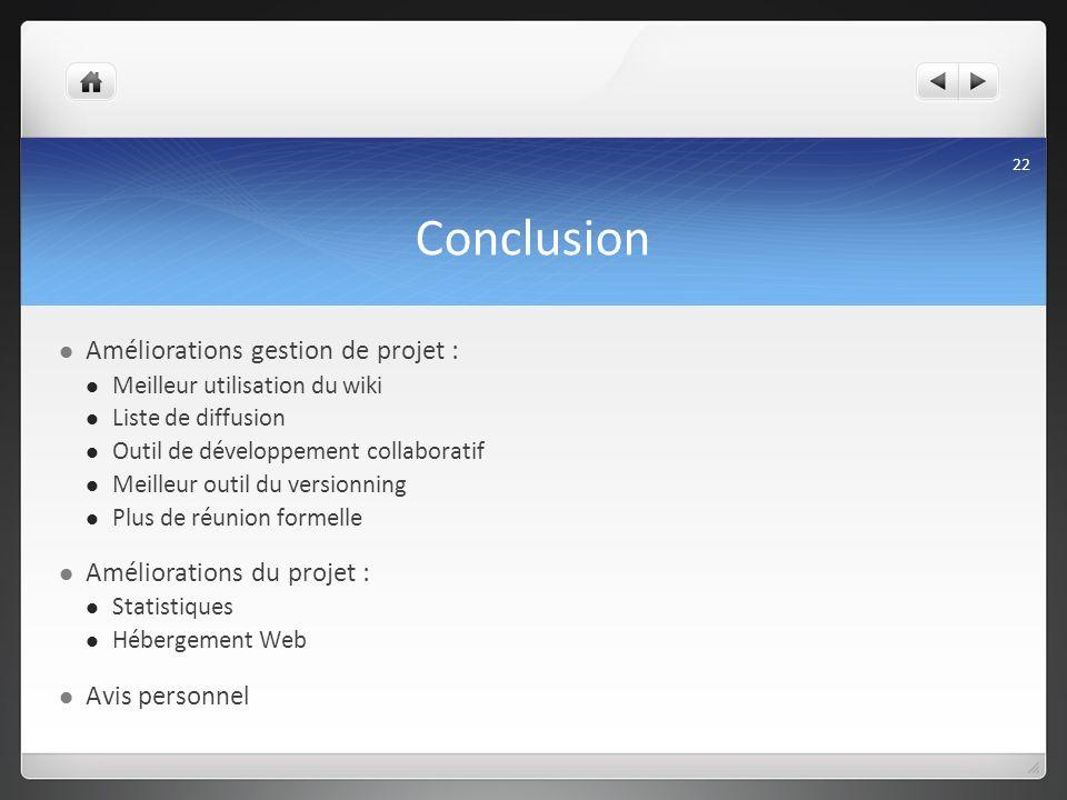 Conclusion Améliorations gestion de projet : Améliorations du projet :
