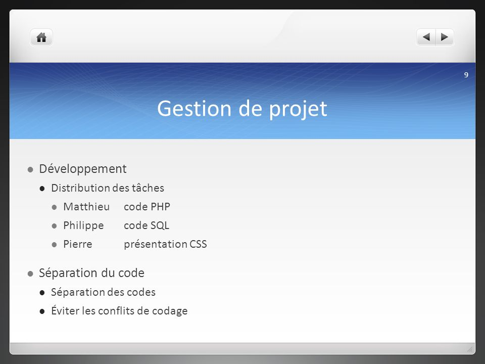 Gestion de projet Développement Séparation du code
