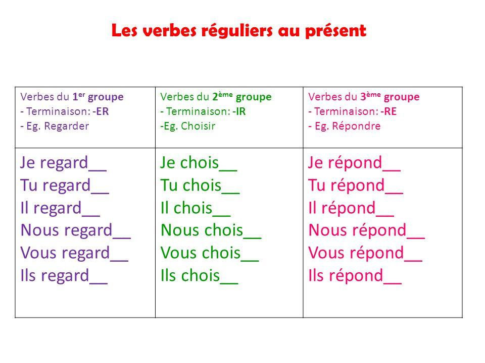 Les verbes réguliers au présent