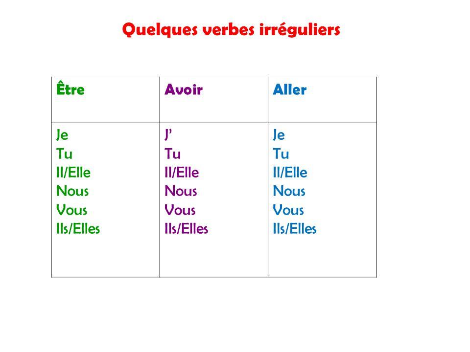 Quelques verbes irréguliers